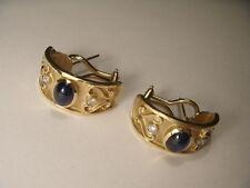 Gorgeous Estate 14K Yellow Gold Etruscan Cabochon Sapphire Diamond Earrings