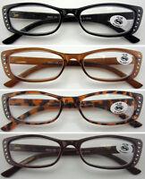 L198 Ladies Vintage Plastic Frame Reading Glasses & Diamante Style/Fashion Wear