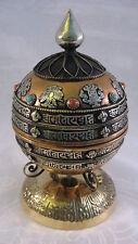 TIBETAN BUDDHISM OM MANI PADME HUM GLOBE DESK TOP PRAYER WHEEL