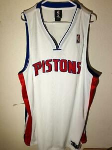 Adidas Authentic NBA Jersey Detroit Pistons White Throwback Jersey sz 52