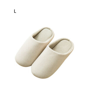 Beige Indoor Slippers Soft Cotton Washable Non-Slip Home Casual Couples Shoes L