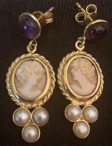 Pink Cameo Earrings 14K Yellow Gold Amethyst Pearl Pierced Fine Hand Made Lovely