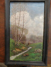 1878 OIL PAINTING ON CANVAS BY BLAKEY, BRIDGE OVER QUIET STREAM