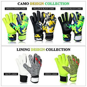 Mens Boys Pro Roll Flat Finger Saver Goalkeeper Goalie Gloves Size 5/6/7/8/9/10