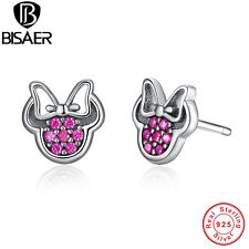 925 sterling silver Red Minnie Sparkling Stud Earrings Fit Women & Girl Jewelry