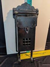New listing Vintage Black Aluminum Wall Mount Medieval Mailbox Letter slot & Paper Holder