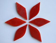 6 St. Tiffany Glas Blattform Handarbeit rot a 4x1,5cm, ca. 12g für Blüten