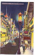 CHINATOWN AT NIGHT---SAN FRANCISCO CALIFORNIA---POSTCARD