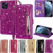 For iPhone 11 12 Pro Max XR 8 7 6s Plus Glitter Leather Zipper Wallet Case Cover