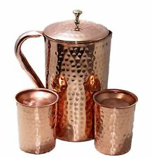 Copper Water 1 Pitcher jug 2 Glasses Set For Drinking Water Hammered Finished