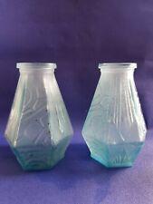 Paire de vase en  pate de verre bleu art déco