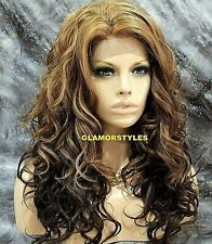 Long Wavy Golden Blonde Brown Mix Full Lace Front Wig Heat Ok Hair Piece #D812BS
