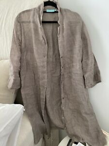 Blue Illusion Linen Duster Jacket Size S