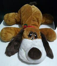 "Dan Dee Brown Laying Floppy Puppy Dog 24"" Plush Red Mistletoe Christmas Collar!"