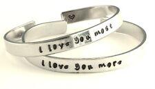 i love you more / i love you most - Hand Stamped Aluminum Cuff Bracelets Set