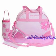 Pink 4PCs Baby Nappy Diaper Changing Bags Flower Design 1618