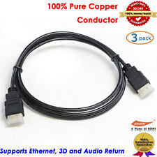 3Packs Gold HDMI-6 HDMI Cable (6 feet), 3D&1080P and Audio Return