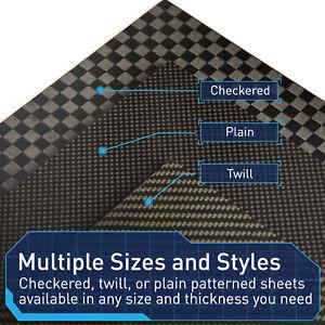 "Space-Grade Carbon Fiber Sheet 12""x12"" Plain,Twill, Checker, Matte, Made in USA"