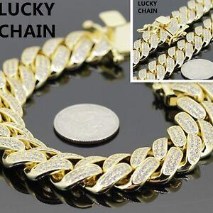14K GOLD FINISH BLING OUT CUBAN LINK BRACELET 8.5''x18mm 139g