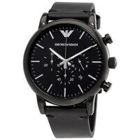 New Emporio Armani AR1918 Luigi Men's Analog Black Leather chronograph Watch