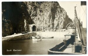 RP SARK- Sark Harbour by NORMAN GRUT Animated BOATS Channel Islands