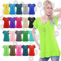 New Womens Plus Size Gypsy Tops Frill Necklace Ladies Tunic Short Sleeve 12-24