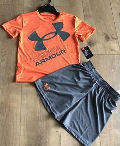 Under Armour Set Size 6 Heatgear Shirt Shorts Orange Gray New
