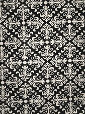 17 inch by 44 inch Black with White Patterned Quilting Fabric Remnant