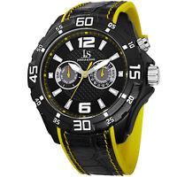 New Men's Joshua & Sons JS79YL Black Swiss Multifunction Layered Strap Watch