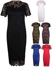 Womens Short Sleeve Ladies Stretch Line Floral Lace Bodycon Midi Dress Plus Size