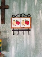 VINTAGE METAL WOOD & TILE  RED APPLES WALL HANG WITH 4 HOOKS COUNTRY KITCHEN