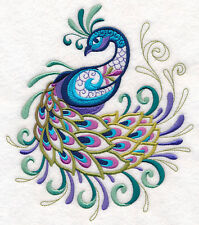 Embroidered peacock quilt block,cushion panel,wall art, machine,quilt,peacock