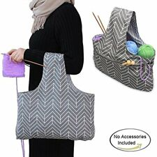 Knitting Tote Bag (L16.5''H9''), Travel Canvas Project Wrist Knitting Yarn Size