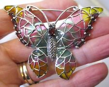 Solid Sterling Silver Art Nouveau Style Plique a Jour Butterfly Pin Brooch