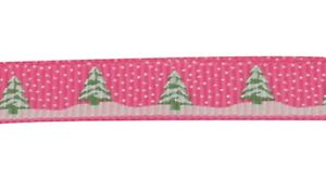 Grosgrain Christmas Tree and Snow Ribbon , Hot Pink , app. 10mm x 5yrds