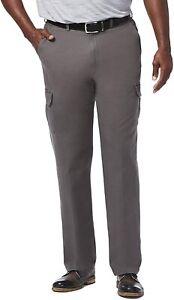 Haggar Men's Big-Tall Stretch Comfort Cargo Expandable-Waist Classic-Fit Pant