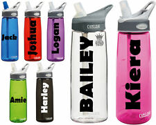 2 x Personalised Name Stickers - Drinks Bottle Gym Bike Water Wiggle Font Sports