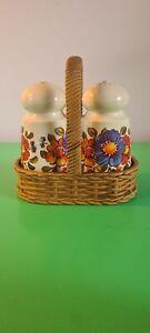 Vintage EMSA Salt & Pepper Shakers / Pots & Holder West Germany