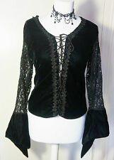 Gothic Victorian style velvet and lace corset style top M/L by TIGER London BNWT