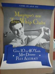 1938 MacGregor Tru-Whip Golf Clubs Golf Club Advertising Poster Vintage Original