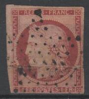 "FRANCE STAMP TIMBRE N° 6 B "" CERES 1F CARMIN FONCE 1849 ""OBLITERE A VOIR  N829"