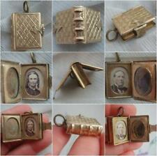 Victorian Silver Gilt Miniature Book Locket 2 Photo Album Mourning Hair Display