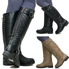 New Women TDh1 Black Khaki Studded Riding Knee High Boots sz 5 to 10
