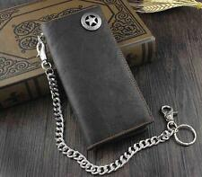 High Qualit Biker Rock Star Concho Mens Card Money Leahter Wallet W/ Chain