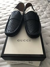 Gucci Authentic Blue GG Mens Driving Shoes Size 9