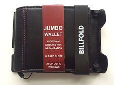 BIFOLD WALLET JUMBO GEORGE MEN'S GENUINE SOLID BLACK LEATHER 16 CARD SLOTS