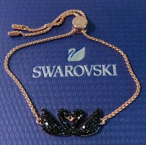 Swarovski 5344132 ICONIC SWAN BRACELET, BLACK, ROSE-GOLD TONE PLATED