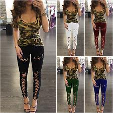 femmes lacet JEGGING TAILLE HAUTE SKINNY pantalons slims long