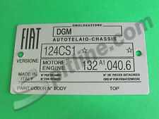 TARGHETTA IDENTIFICATIVA DATI FIAT 124 SPIDER 1800 3^ S. (124 CS1-132 A1.040.6)