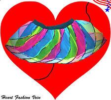 Multi Rainbow Sequin Twister tutu skirt Adult Neon Dance Party Costume Halloween